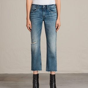 AllSaints destroyed cropped jeans